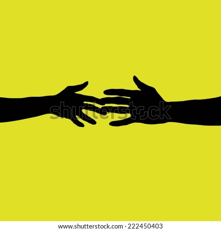 Human hands reaching out - stock vector