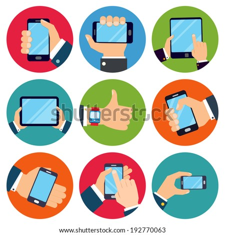 Human hands set holding mobile phones and tablet devices isolated vector illustration - stock vector