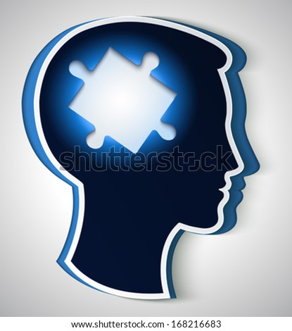 Human head. concept of a new idea, piece of the puzzle in the form a brain in blue color - stock vector