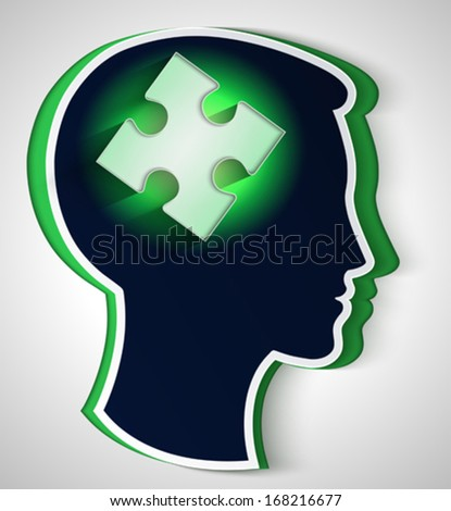 Human head. concept of a new idea, piece of the puzzle in the form a brain in green color - stock vector