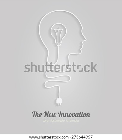 Human head creating a new idea | Creative Idea vector - stock vector