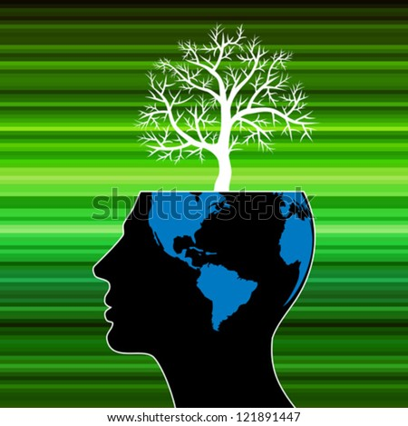 human head growing in the shape of tree - stock vector