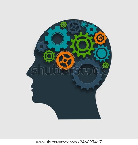 Human head profile silhouette with gears inside thinking process concept vector illustration - stock vector