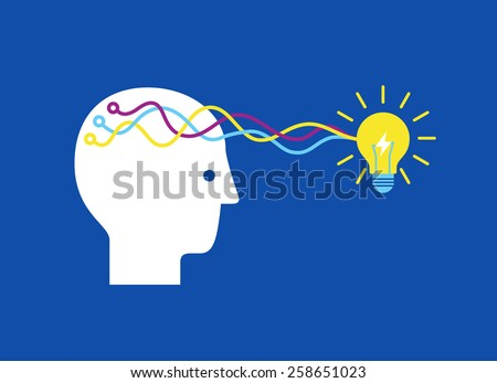 Human head thinking a new idea. Vector illustration. - stock vector
