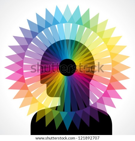 human head thinking every side - stock vector