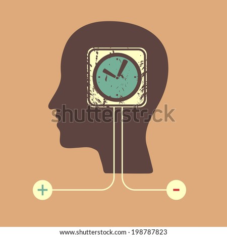 Human head with a clock icon - stock vector