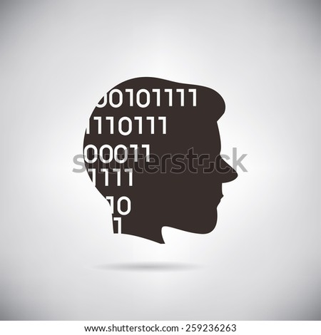 human head with binary code, digital face concept, artificial intelligence technology - stock vector