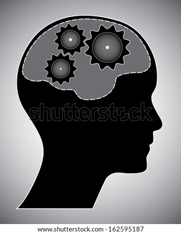 Human head with brain and gears. Black brainstorm concept with gears and head silhouette. Isolated easy to edit eps10 vector illustration.  - stock vector