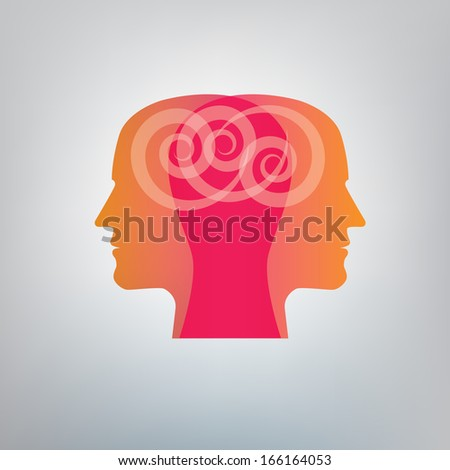 Human head with brain concepts, vector illustration - stock vector