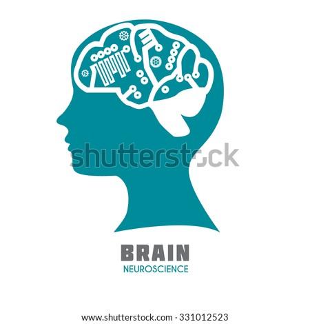 Human head with brain hemisphere in sagittal view. Medical vector illustration. Brain sign design template for Neuroscience, Psychology & Medicine. Symbolic brain division. Sample text  Editable. - stock vector
