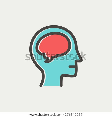 Human head with brain icon thin line for web and mobile, modern minimalistic flat design. Vector icon with dark grey outline and offset colour on light grey background. - stock vector