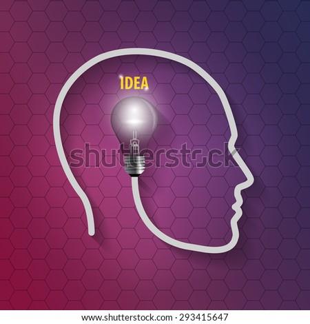human head with bulb. Thinking a new idea on hexagonal background - stock vector