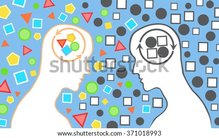 Human head with different types of thinking and perception. - stock vector