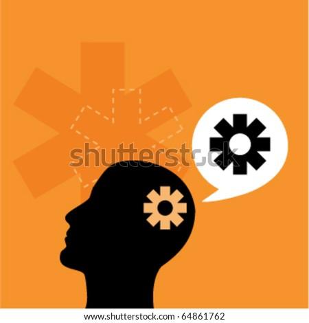Human head with gears - stock vector