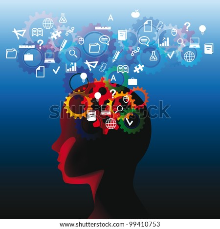 Human head with many question, thinking abstract - stock vector