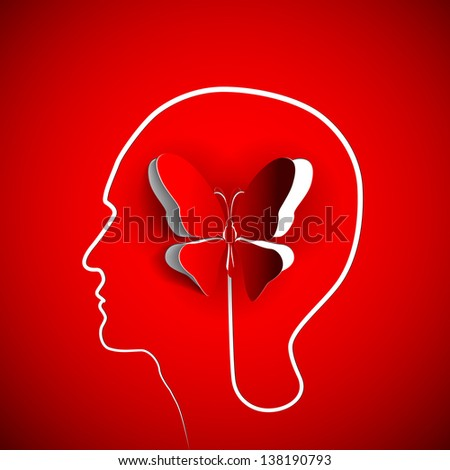 Human head with paper butterfly - symbol Freedom and creativity - design concepts - stock vector