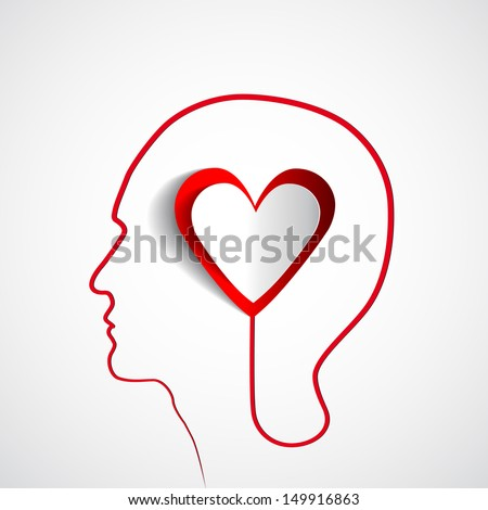Human head with paper red heart - symbol Love and relationship - - stock vector