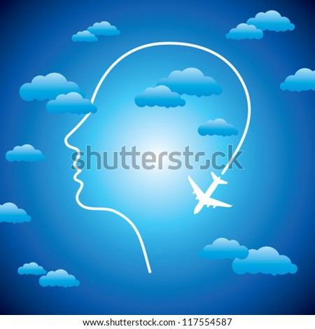 human head with plane - stock vector