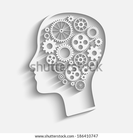 Human head  with set of gears as a symbol work of brain - stock vector