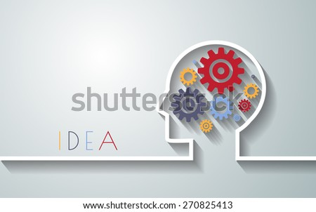 Human head with set of gears as a symbol work of brain background for your design.vector/eps10. - stock vector