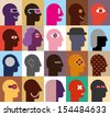 Human Heads - abstract vector illustration. Can be used as seamless wallpaper. - stock vector