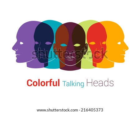 Human heads silhouettes. Group of people talking, working together. Concept illustration - stock vector