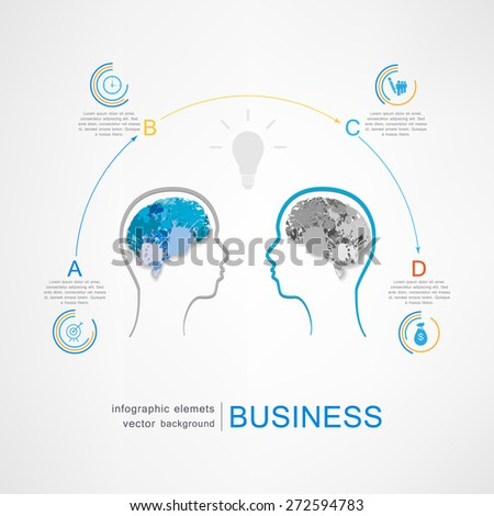 Human heads with Bulb symbol Business ; concepts - stock vector