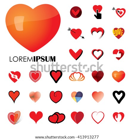 human heart and love vector logo icons ( signs ) or symbols. heart icon vector. heart icon object. heart icon image. heart icon graphic. heart icon jpg. heart icon eps. love icon vector. love icon eps - stock vector