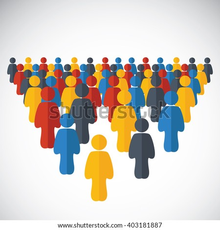 Human icons on the white. Human connection. Abstract human crowd  - stock vector