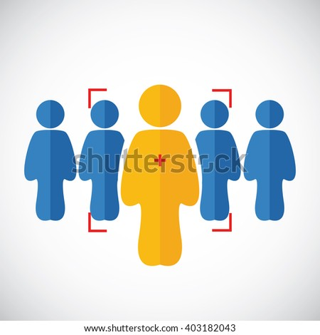 Human icons on the white. Human connection. Human icon of leader in target - stock vector
