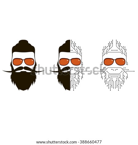 human individuals hipster. a person who lives in social networks and the Internet. Modern man, follower of new technologies and fashion. The person in the form of electronic circuit - stock vector
