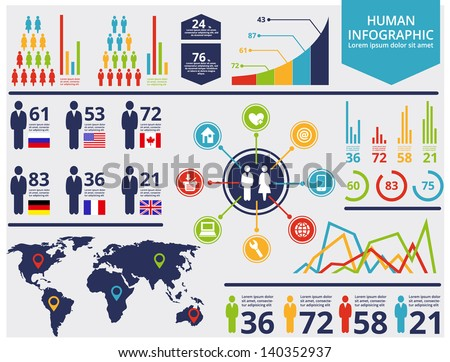 Human infographic vector illustration. World Map and Information Graphics - stock vector