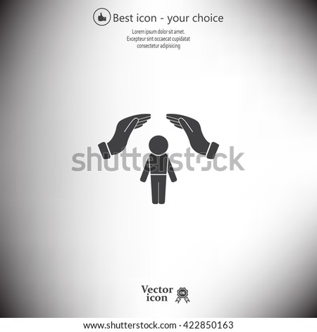 Human life insurance sign icon. Hands protect man symbol. Health insurance.  - stock vector