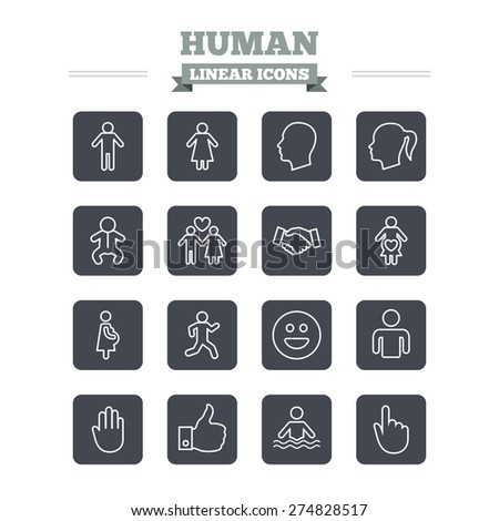 Human linear icons set. Male and female symbols. Infant toddler and pregnant woman. Happy smile face. Success deal handshake. Thin outline signs. Flat square vector - stock vector