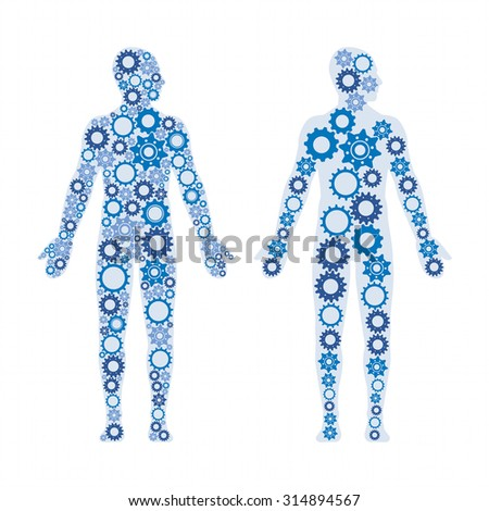 Human male bodies composed of gears, healthy lifestyle and anatomy concept - stock vector