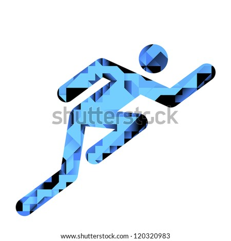 Human Male Racing Pictogram With Geometric Pattern Illustration - stock vector
