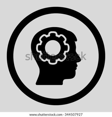 Human Mind vector icon. Style is flat rounded symbol, black color, rounded angles, light gray background. - stock vector