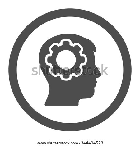 Human Mind vector icon. Style is flat rounded symbol, gray color, rounded angles, white background. - stock vector