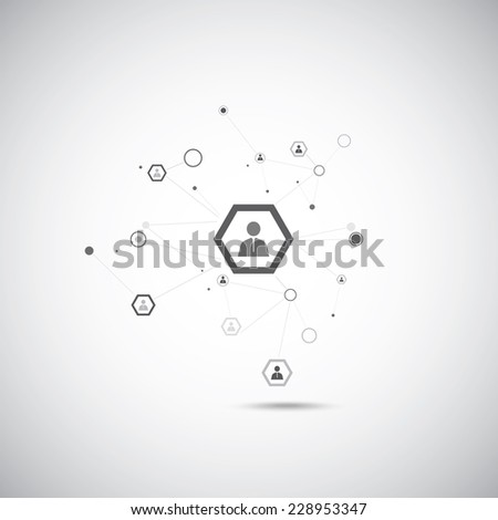 Human model connection on the gray background. - stock vector