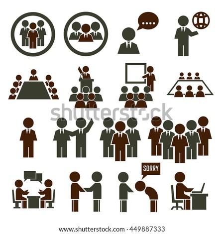 human office icon set - stock vector