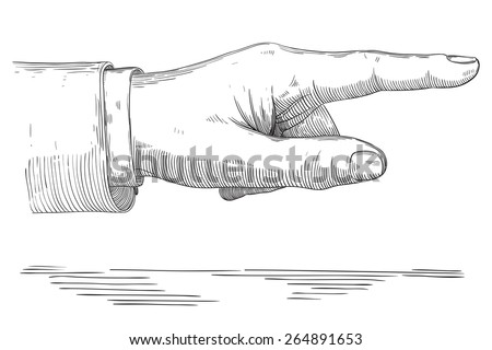 Human pointing hand. Vector of hand  with pointing finger at retro engraving style. - stock vector