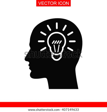 Human profile with bulb Icon. - stock vector