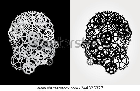 human profile with gears - stock vector