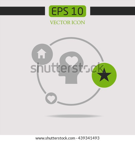 Human profile with heart Icon. Human profile with heart Vector.  - stock vector
