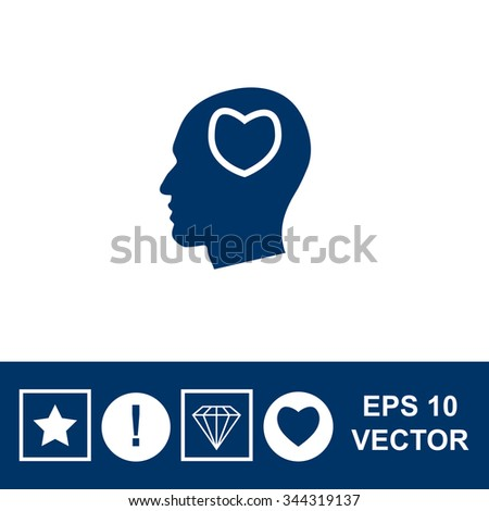 Human profile with heart vector icon. - stock vector