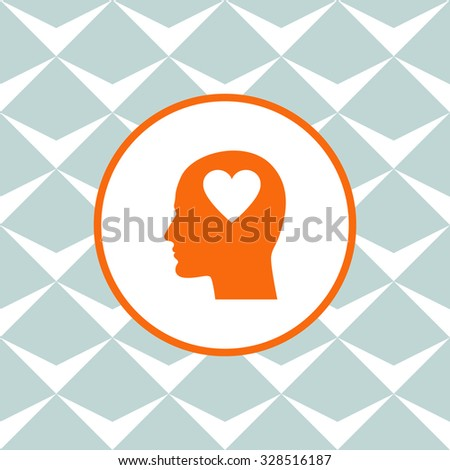 Human profile with heart vector icon. Seamless background with geometric design. - stock vector