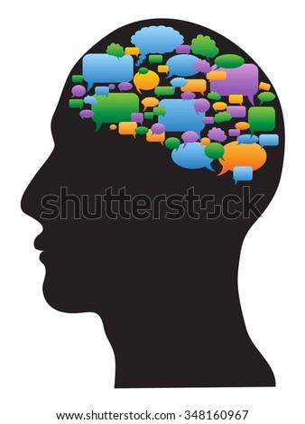 human profile with speech bubbles brain - stock vector