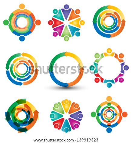 human, public relations icon & logo set - stock vector