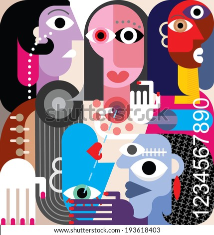 Human Relations. Large group of people - abstract art vector illustration. - stock vector