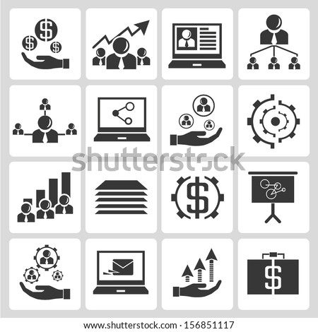 human resource allocation, business management icons set - stock vector